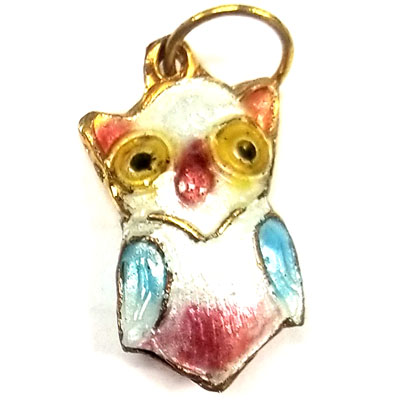ENAMEL OWL 13X24MM WHITE