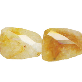 YELLOW QUARTZ FACETED WAVE LADDER 30X40MM