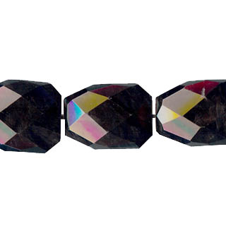 BLACK OBSIDIAN FACETED FREEFORM 28X35MM