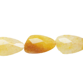 YELLOW QUARTZ FACETED WAVE TRIANGLE 18X30MM