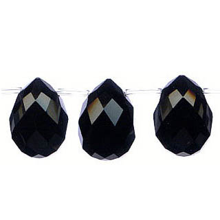 BLACK OBSIDIAN FACETED TEAR DROP S/D 18X25MM