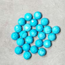 08MM FACETED ROUND CABOCHON STABILIZED TQ BLUE(10PCS/BAG)