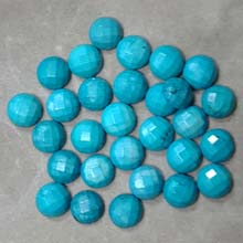 10MM FACETED ROUND CABOCHON STABILIZED TQ BLUE(10PCS/BAG)
