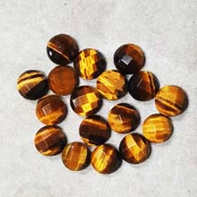 10MM FACETED ROUND CABOCHON TIGER EYE(10PCS/BAG)