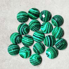 12MM FACETED ROUND CABOCHON SYNTHETIC MALACHITE(8PCS/BAG)