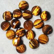12MM FACETED ROUND CABOCHON TIGER EYE (8PCS/BAG)