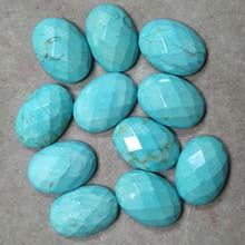 13X18MM FACETED OVAL CABOCHON STABILIZED TURQUOISE(8PCS/BAG)