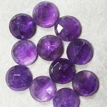 14MM FACETED ROUND CABOCHON AMETHYST(4PCS/BAG)