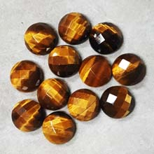 14MM FACETED ROUND CABOCHON TIGER EYE(6PCS/BAG)