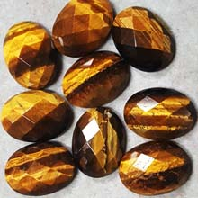 15X20MM FACETED OVAL CABOCHON TIGER EYE(4PCS/BAG)
