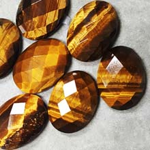 18X25MM FACETED OVAL CABOCHON TIGER EYE(4PCS/BAG)