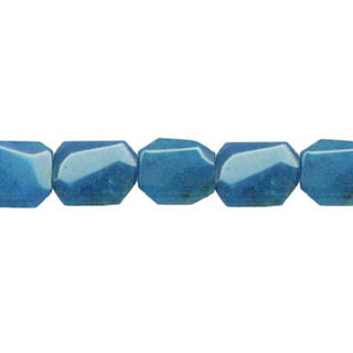 DYED JADE D. FACETED WAVE RECTANGLE 10X14MM TEAL BLUE