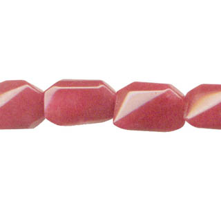 DYED JADE D. FACETED WAVE RECTANGLE 16X19MM WATERMELON