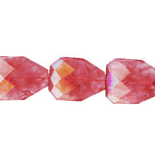 CHERRY QUARTZ FACETED PEAR FREEFORM 28X35MM