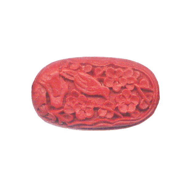 CINNABAR OVAL 20X34MM RED