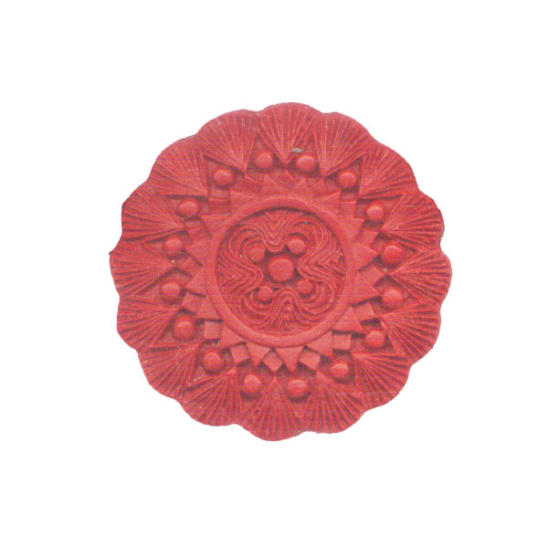 CINNABAR COIN FLOWER 48MM RED