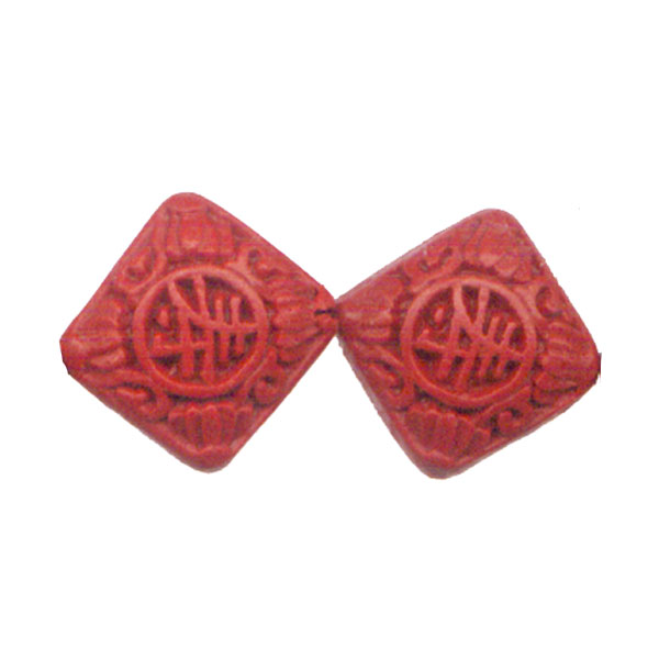 CINNABAR SQUARE 18MM RED