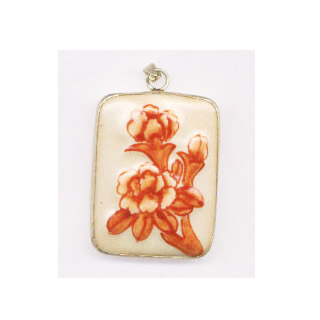 PORCELAIN PENDANT-RECTANGLE 33X43mmW/Bor