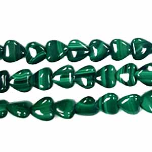 MALACHITE PUFF HEART 08MM