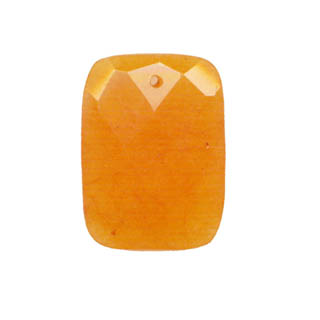 FACETED RECTANGLE 30X40MM DYED JADE ORANGE