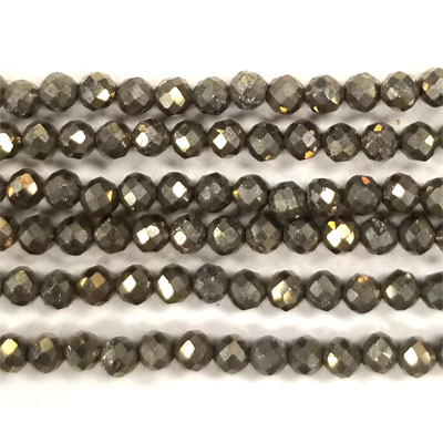 PYRITE FACETED ROUND 03MM