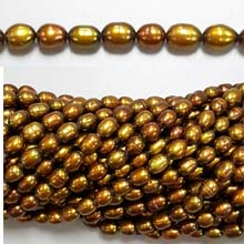 FRESHWATER PEARL RICE 4X7-4X10MM GOLDEN BROWN (10 strs)