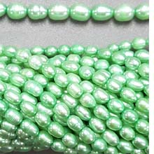 FRESHWATER PEARL RICE 5X7-5X10MM LIGHT GREEN (10 strs)