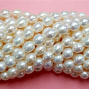 FRESHWATER PEARL RICE 7-7.5MM WHITE