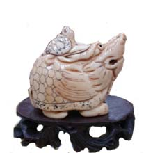 OX BONE CARVED DRANGO CARRYING TURTLE