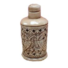 OX BONE CARVED SNUFF BOTTLE HOLLOW RELIEF OWL