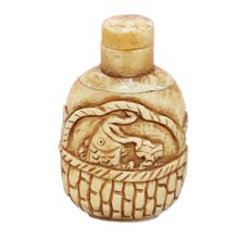 OX BONE CARVED SNUFF BOTTLE RELIEF FISH