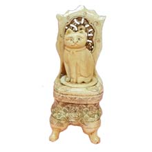 OX BONE CARVED BOX STAND CAT ON CHAIR