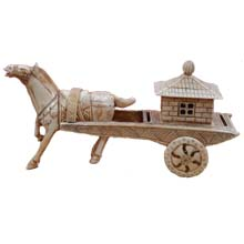 OX BONE CARVED BIG HORSE WITH CARRIAGE