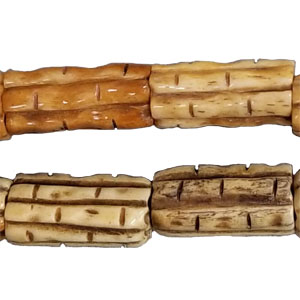 OX BONE CARVING TUBE BAMBOO 10X20MM ANTIQUE COLOR