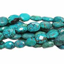 Chinese Turquoise faceted flat oval 11x12-14x18mm