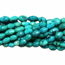 Chinese Turquoise faceted rice 6x7-8x12mm