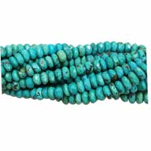 Chinese Turquoise faceted flat roundelle 7-8mm