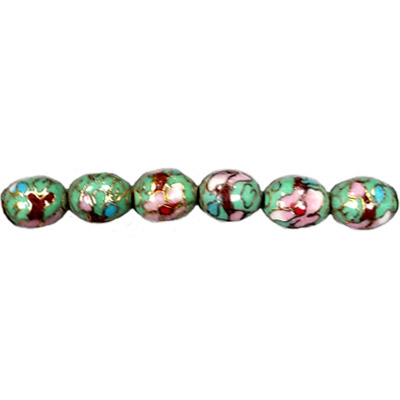 CLOISONNE RICE 07X10MM APPLE GREEN