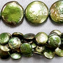 FRESH WATER PEARL COIN PEARL 12-13MM DARK GREEN