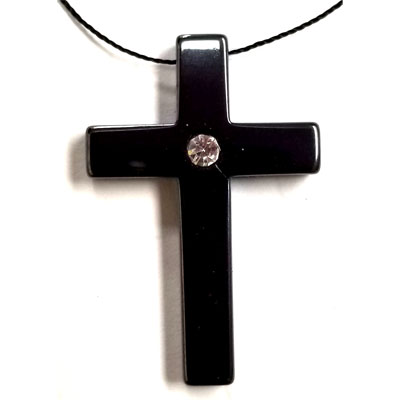 HEMATITE CROSS WITH RHINESTONE 22X34MM PENDANT ( 4PCS)