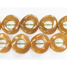 DYED JADE TWIST DONUT 25MM OLIVE