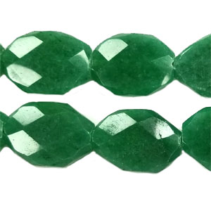 DYED JADE FACETED FREE FORM 22X30MM DARK GREEN