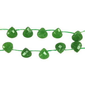 DYED JADE FACETED PEAR 8X8MM GREEN