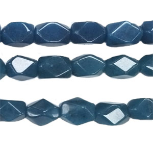 DYED JADE FACETED NUGGET 8X12MM TEAL BLUE