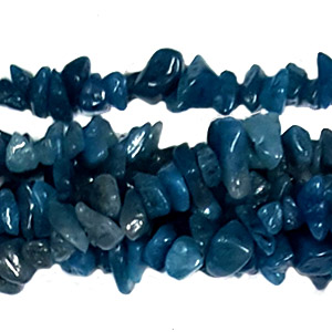 DYED JADE TEAR BLUE CHIPS ( 5 STRS)