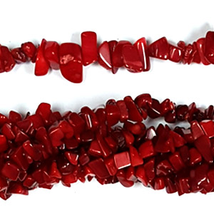 "DYED RED CORAL CHIPS 36"" (5 STRS)"