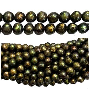 FRESHWATER PEARL FACETED POTATO 7-7.5MM GOLDEN GREEN