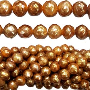 FRESHWATER PEARL FACETED POTATO 7-8MM GOLD