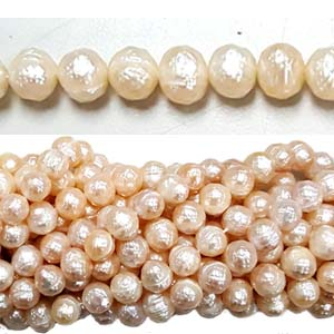 FRESHWATER PEARL FACETED POTATO 7.5-8MM NATURAL PEACH