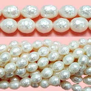 FRESHWATER PEARL FACETED RICE 7-8MM WHITE